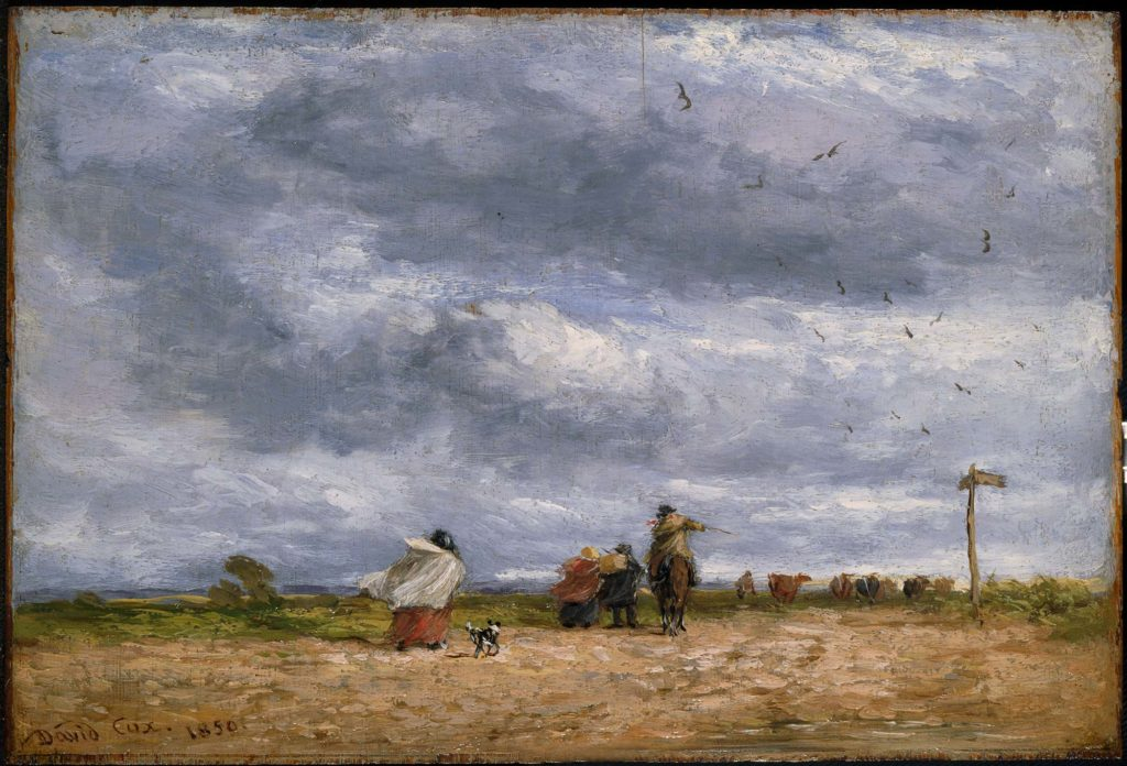 David Cox, The Cross Roads, oil on panel, 1850, Birmingham Museums and Art Galleries.