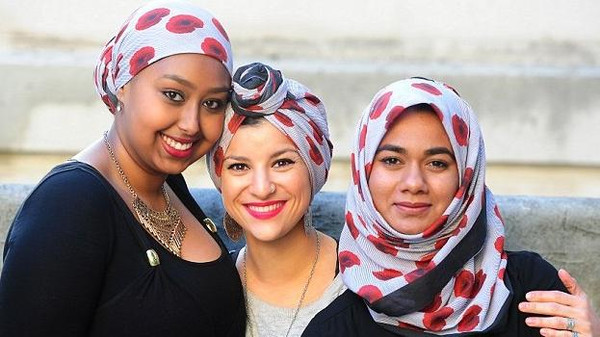 British Muslim Women wear a Poppy Hijab for Remembrance Day