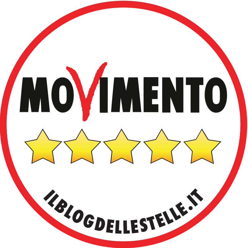 logo of the Five Star Movement. A thin red circle with white the middle like a sticker. In the centre the word MOVIMENTO is written in blog capitals. All are clean and in bold black type apart from the V which is red and looks like its been quickly written in red pen. Underneath the text sit five gold stars and a web address in black text right at the bottom of the logo