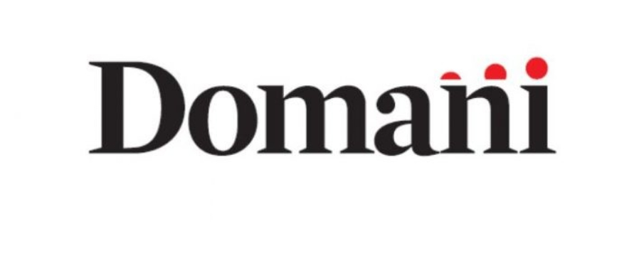"Logo of the Italian progressive broadsheet Domani established in 2020. The logo is simple black, serified text on a white background. Three red dots rising in size until they align with the final ""i"" in the name Domani off set the black and white"