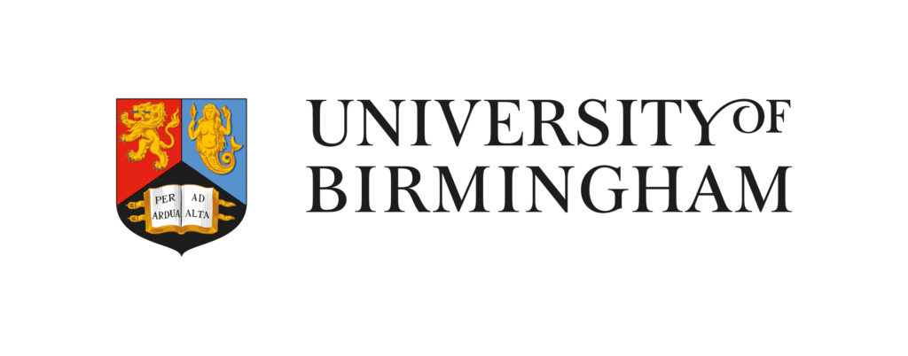 Full colour logo of the University of Birmingham. The University's shield, divided into three gudrants red, blue and black sits to the left hand side of the University's name split across two lines, all in capital letters and a cursive script
