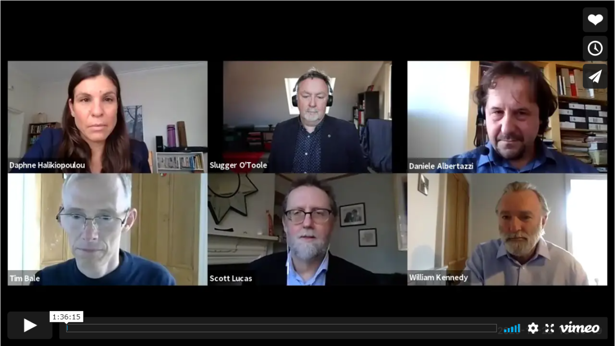 Screengrab of panelists for the 22nd October event. Six middle aged white people arranged in a grid on a video call. Five of the six are men one is a woman