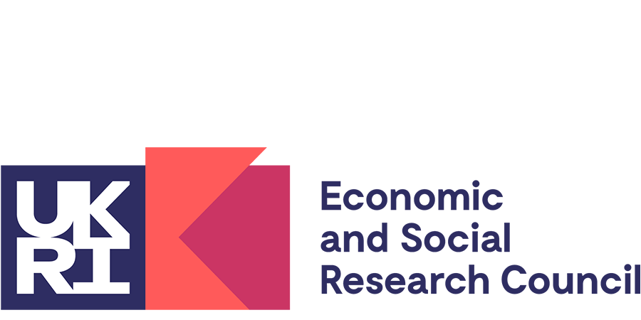 """Logo of the UK's Economic and Social Research council. It contains the UKRI logo, next to two interlocking shapes one a reddy orange the other a pinkish red, then the text """"Economic and Social Research Council"""""""