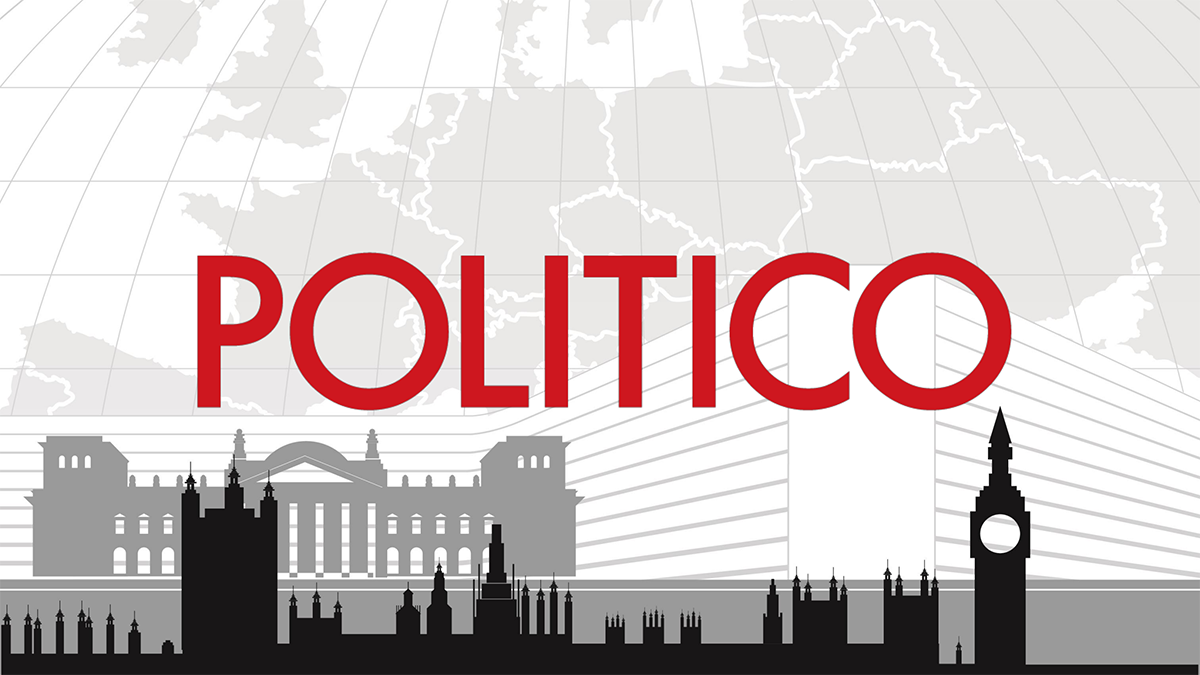 """Politico Europe logo. Has the name """"Politico"""" in the centre of the title card emblazoned in red in a moderne style font. Above it sits a light grey pencil like drawing of the European continent. Beneath it sits a grey pencil drawing of the Bundestag in Berlin and below that sits a dark grey pencil like silhouette of the Palace of Westminster in London. A series of closely hatched swirls in light pencil like grey surrounding the text and the drawings suggests communications and possibly intrigue"""