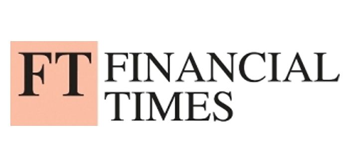 Logo of the Financial Times newspaper. Comprises a light pink box with the initials FT in a Times New Roman Style font on a white background with the names Financial Times written on top in the same font but smaller