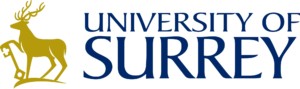 Logo of the University of Surrey. It comprises a golden silhouette of a stag holding a key set next to some serified text in dark blue block capitals reading University of Surrey
